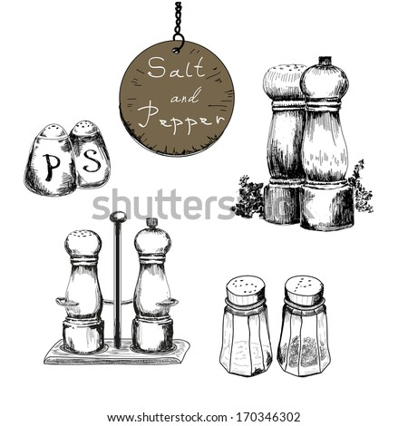 Salt and pepper. Set of vector hand drawn illustrations - stock vector