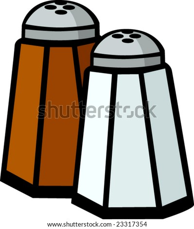 salt and pepper shakers - stock vector