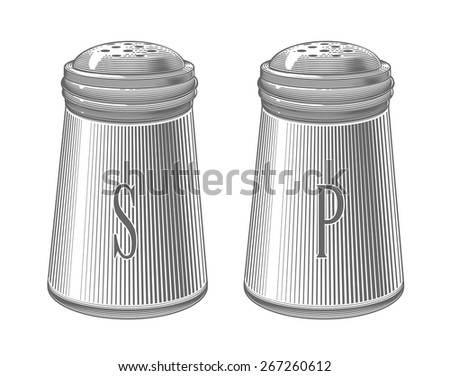 Salt and pepper shakers in engraving style.  Vector illustration, isolated, grouped, transparent background.  - stock vector
