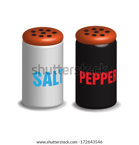 Salt and pepper shakers isolated on a white background - stock vector