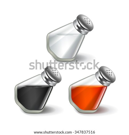 Salt and pepper shakers isolated on white photo-realistic vector illustration - stock vector