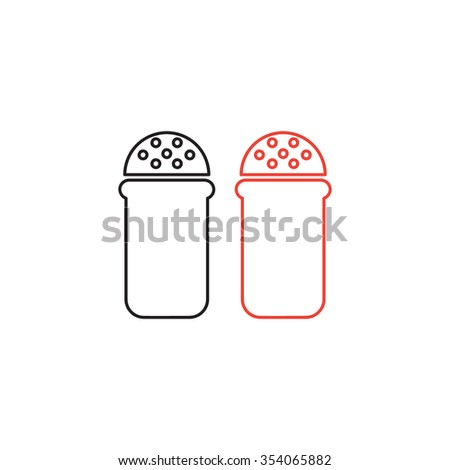 Salt and pepper spice line icon