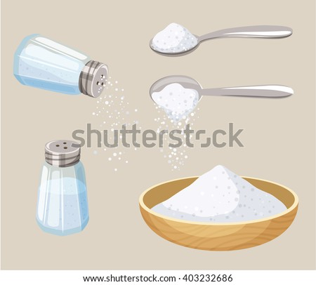 Salt set: salt shaker, spoon and bowl of salt. Do pour salt from spoon and shaker. Baking and cooking ingredient. Cartoon vector salt. Food seasoning. Kitchen utensils: spoon, salt shaker, bowl - stock vector