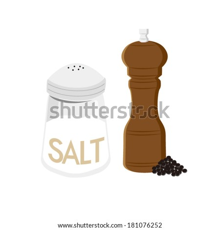 Salt shaker and black pepper - stock vector