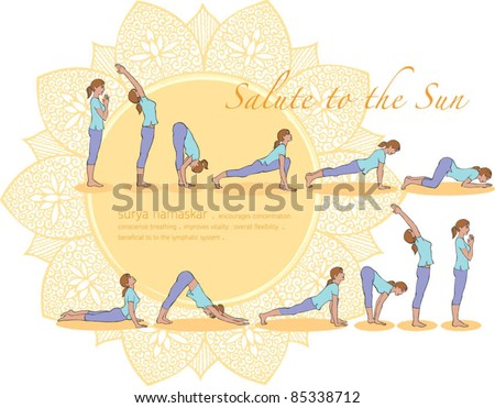 Salute to the sun yoga poses - stock vector