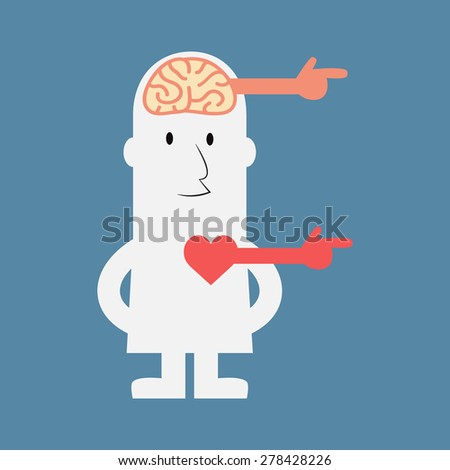 Same direction of brain and heart - Vector - stock vector