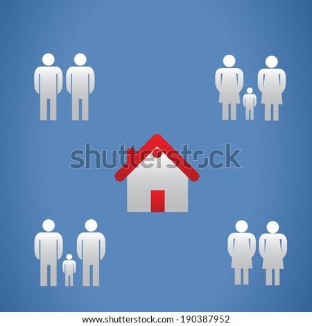 Same gender families - stock vector