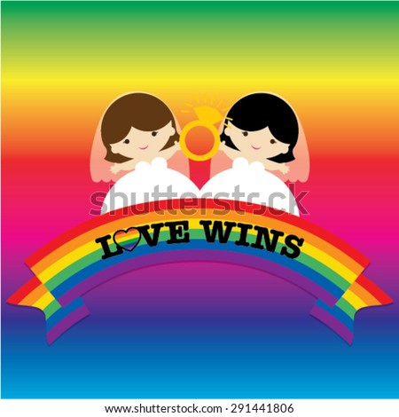 Same sex marriage. LOVE WINS vector illustration. Couple holding ring. - stock vector