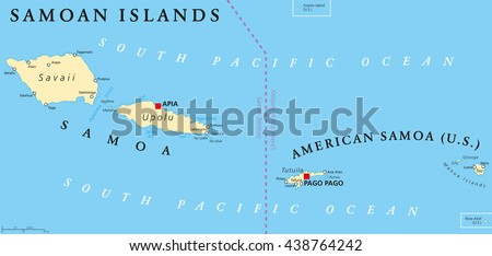Samoan Islands Political Map Samoa Formerly Stock Vector 438764242