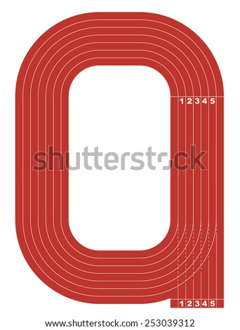 Sample athletics track field in a simple outline. Flat design. Vector illustration. - stock vector