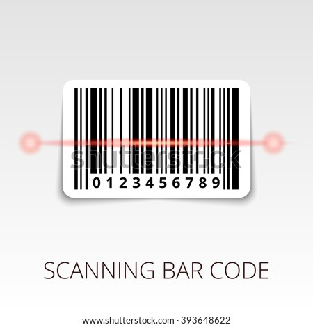 sample bar code ready to scan. with shadow sticker - stock vector