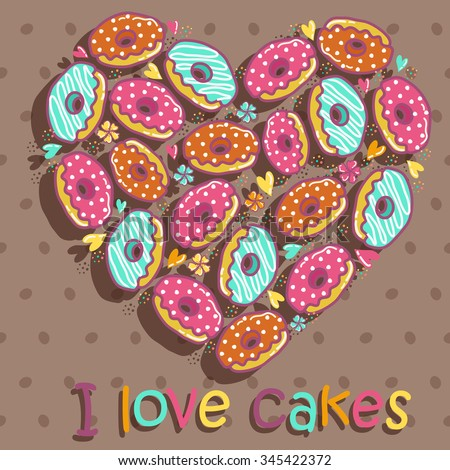 Sample cards and cakes on a brown mottled background - stock vector