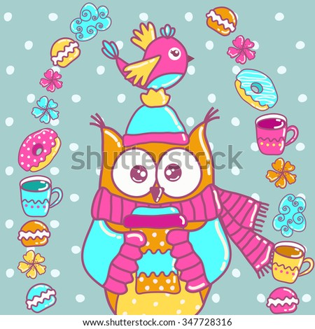 Sample cards with an owl, with cups and cakes - stock vector