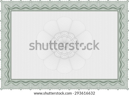 Sample Certificate. Border, frame.Cordial design. With guilloche pattern and background.  - stock vector
