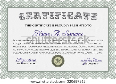 Sample certificate or diploma. Border, frame.Retro design. With complex background.  - stock vector