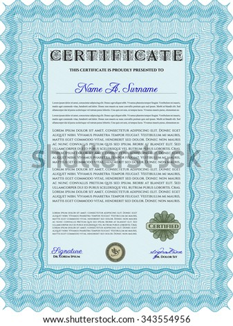 Sample certificate or diploma. Vector illustration.Nice design. With great quality guilloche pattern.