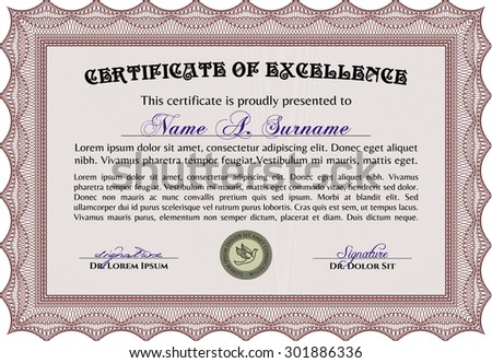 Blue Certificate Template Detailed Border Stock Vector 143308225