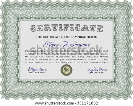 Sample Certificate. With complex background. Vector pattern that is used in currency and diplomas.Complex design.