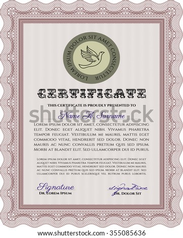 Sample Certificate. With great quality guilloche pattern. Artistry design. Diploma of completion.