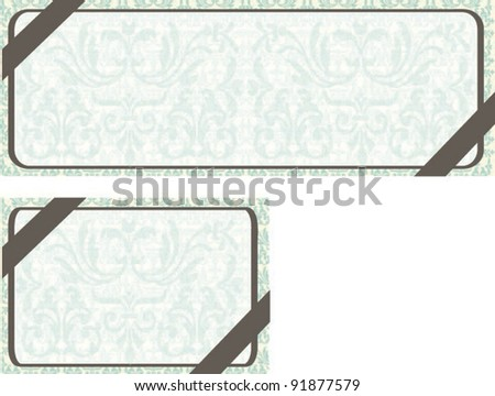 Sample for Event Card on blue floral background - stock vector