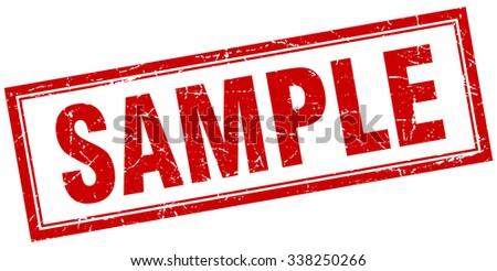 sample red square grunge stamp on white. sample stamp. sample. sample sign - stock vector
