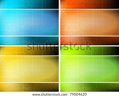 sample striped background set with 4 cards - stock vector