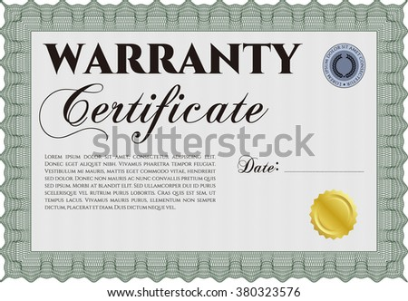 Template warranty certificate complex background perfect stock sample warranty certificate artistry design vector illustration with complex linear background yelopaper Choice Image