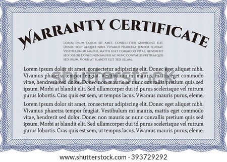 Sample Warranty certificate. Excellent complex design. Vector illustration. With complex linear background.