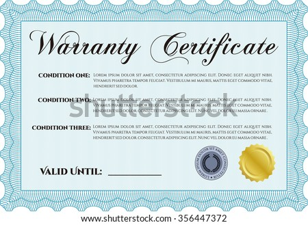 Sample warranty certificate template complex design stock vector hd sample warranty certificate template complex design with background very customizable thecheapjerseys Image collections