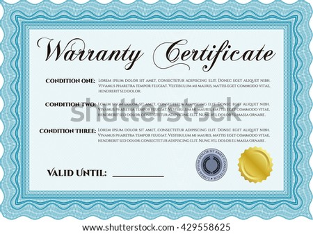 Sample warranty certificate template elegant design stock vector sample warranty certificate template elegant design with guilloche pattern and background vector illustration yelopaper Gallery
