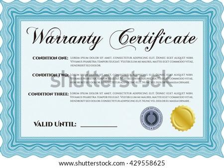 Sample Warranty Certificate Template Elegant Design Stock Vector ...