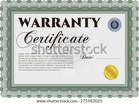 Sample warranty certificate template perfect style stock vector sample warranty certificate template perfect style with sample text complex frame design yadclub Image collections