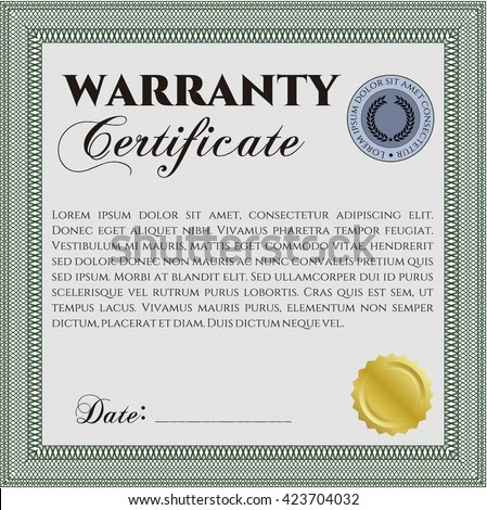 Sample Warranty Certificate Complex Linear Background Stock Vector