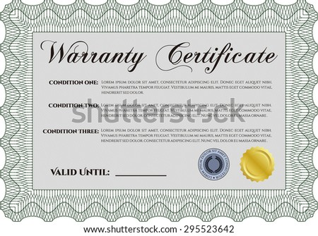Sample Warranty certificate template. Very Detailed. Complex frame. With background.