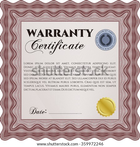 Sample Warranty certificate template. Very Detailed. With background. Complex frame.