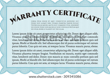 Sample Warranty template. Complex frame design. Easy to print. Very Customizable.