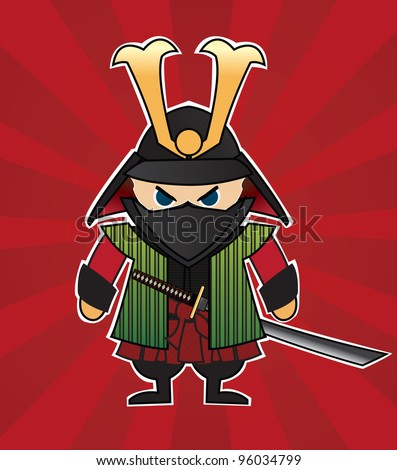 Samurai cartoon illustration on red sunburst background, vector - stock vector