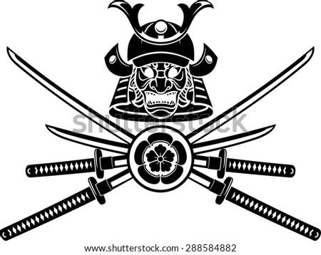 Samurai Helmet and Sword Emblem - stock vector