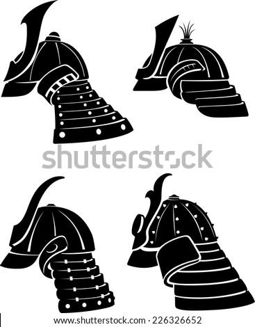 Samurai Helmet Side View Set - stock vector