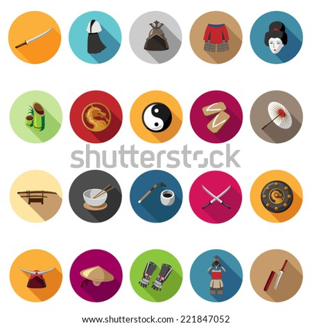 Samurai icons set in flat design with long shadow. Illustration eps10 - stock vector