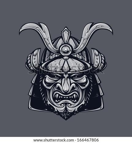 Samurai mask. Monochrome version. Japanese traditional martial mask. Vector EPS 10 illustration.  - stock vector