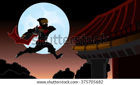 Samurai Ninja In Front of Japan Moon Jumping In Air Cartoon Vector - stock vector