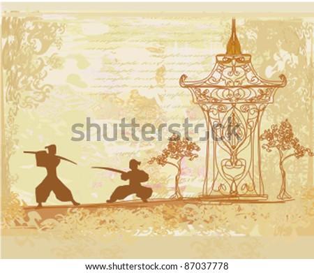 Samurai silhouette in Asian Landscape - stock vector
