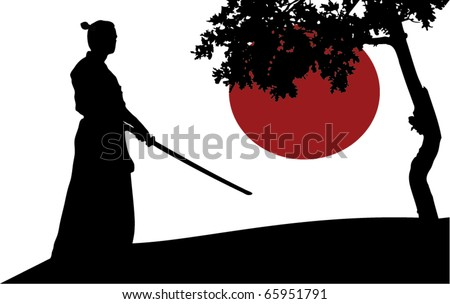 Samurai silhouette in front of tree - stock vector