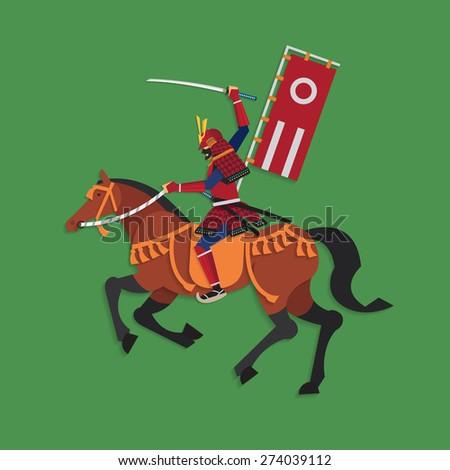 Samurai Warrior Riding Horse with Sword, Vector illustration - stock vector