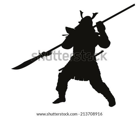 Samurai warrior with halberd fighting detailed vector silhouette. EPS 8 - stock vector