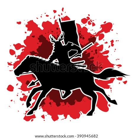 Samurai Warrior with Spear, Riding horse, designed on splash blood background graphic vector. - stock vector
