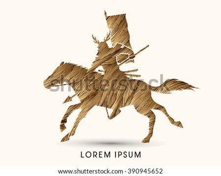 Samurai Warrior with Spear, Riding horse, designed using gold grunge brush graphic vector. - stock vector