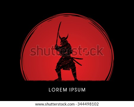 Samurai Warrior with sword, designed using grunge brush on sunset background graphic vector.