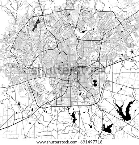 San Antonio Monochrome Vector Map Very Stock Vector 2018 691497718